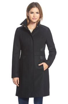 Via Spiga Wool Blend Coat with Faux Leather Trim available at #Nordstrom