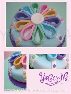 TARTA DECORADA CON FONDANT - LAZO MULTICOLOR | Flickr: Intercambio de fotos