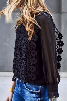 Chicwish Black Lace Top, Zara Destructed Skinny Jeans, Black Tassel Heels, Saint Laurent Monogram Clutch, Fall Outfit, Date Night Outfit
