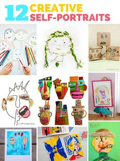 12 Creative Self Portrait Art Projects for Kids. Awesome mixed media projects here including paper mache, cardboard, paint and print media.