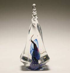 Contemporary clear glass paperweight, 1997.