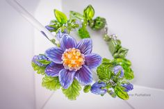 Purple  daisy flower bracelet, #chrysanthemum #jewelry, glass flower, #lampwork bracelet charm jewelry, gift for mother, jewelry for wife   Material: glass lampwork beads, met... #leaves #summer
