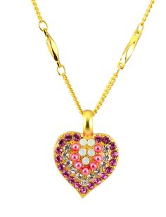 f45c5a0a46e Mariana Cherry Blossom Gold Plated Swarovski Crystal Heart Pendant Necklace,  16+4