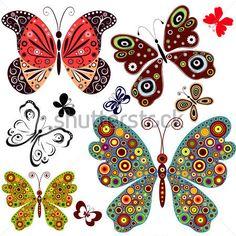 Set Mariposas Abstractas Para Diseño En Blanco (vector) imágenes prediseñadas (clip arts) - ClipartLogo.com