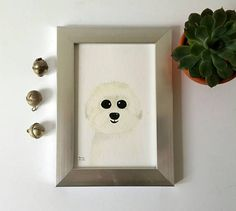 Bichon painting watercolor dog painting small dog breed
