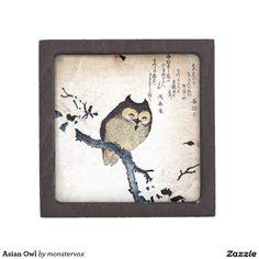 Asian Owl Premium Keepsake Boxes #Owl ##Bird #Asian #Japanese #Japan #Gift #Keepsake #Trinket #Box