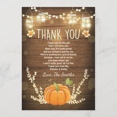 Pumpkin thank you card Rustic Fall Baby shower Birthday Thank You Cards, Baby Shower Thank You Cards, Custom Thank You Cards, Baby Cards, Baby Shower Fall, Fall Baby, Baby Shower Invitations, Birthday Invitations