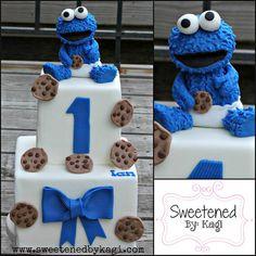 Cookie Monster Cake topper by SweetenedbyKagi on Etsy, $55.00