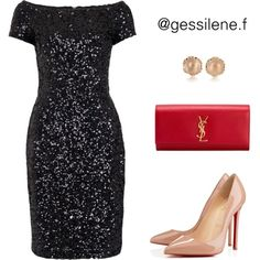 vestido by gessilene-ferreira on Polyvore featuring moda, French Connection, Christian Louboutin and Yves Saint Laurent