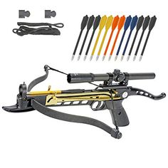 Crossbow Self-Cocking 80 LBS by KingsArchery® with Hunting Scope, Spare Crossbow String and Caps, 3 Aluminium Arrow Bolts, and Bonus of Colored PVC Arrow Bolts + KingsArchery® Warranty For Sale Hunting Arrows, Archery Arrows, Archery Hunting, Hunting Gear, Archery Target Stand, Archery Photography, Archery Range, Best Trail Running Shoes, Hunting Scopes