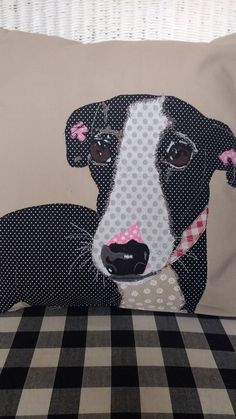 Greyhound patchwork machine embroidered cushion by PaddyMacDesigns on Etsy Applique Cushions, Applique Quilt Patterns, Patchwork Cushion, Embroidered Cushions, Quilted Pillow, Applique Designs, Free Motion Embroidery, Machine Embroidery, Animal Cushions