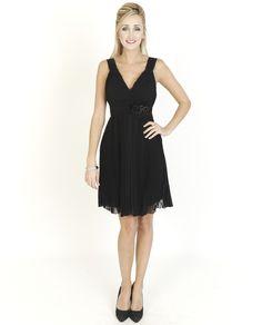 Black Dresses - Corsage Detail Pleated Black Dress - http://www.blackdresses.co.uk