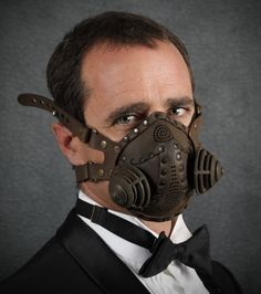 """Steampunk Gas Mask Respirator in black iron colors """"Excursionist"""". $125.00, via Etsy."""