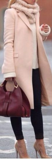 fall outfit ideas / pink jacket + scarf