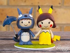 Gorgeous Geeky Cake Toppers - Totoro and Pikachu Wedding Cake Topper - Genefy Playground