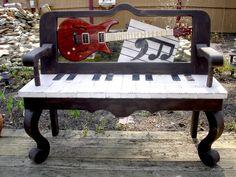 Guitar Music Bench. #streetart #publicart #musicart http://www.pinterest.com/TheHitman14/art-of-the-streets/