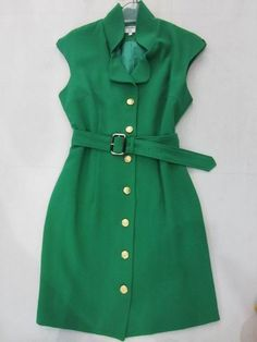 $85.00 Brand New Chanel Single Breasted Belt Sleeveless Chemical Fiber Cotton Dress Green for Cheap
