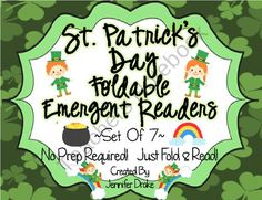 St. Patricks Day Foldable Emergent Readers ~Set of 7~ CC Aligned! product from Teachers-Treasure-Chest on TeachersNotebook.com