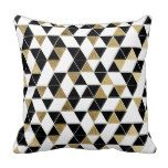 Modern Black, White, and Faux Gold Triangles Throw Pillow more great gift ideas at www.dramaticallycorrectdesigns.com