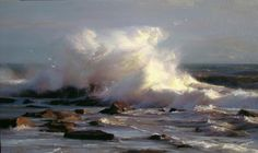 """Fine Art Connoisseur - Award Winners Announced At CAC Gold Medal Juried Exhibition Ruo Li, """"Golden Light,"""" oil, 28 x 48 in. Winner of the 2013 Gold Medal Award for Best Painting Landscape Art, Landscape Paintings, Landscapes, Ocean Scenes, Painting Workshop, California Art, Traditional Paintings, Seascape Paintings, Ocean Art"""