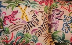 LOVE THIS FABRIC...(Similar to pink fern fabric)Clarence House Congo Multi Pillow Cover by WestEndAccents on Etsy