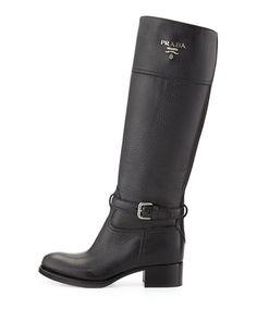 X29S3 Prada Pebbled Logo Knee Boot, Nero