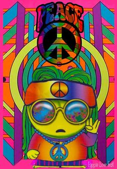 This is a cute little mischievous little minion who is a hippie and loves peace signs.:)