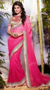 Give in to the exotic look like Kumudwearing this beautiful attire. This stylish ruby chiffon border saree which is ornamented with a silver lace work on the border part. This sari comes with a matching embroidered blouse piece.  The chiffon blouse of this saree can be stitched in the maximum bust size of 40 inches...