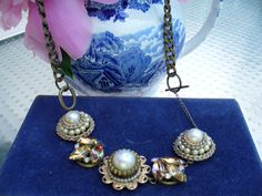 PEARL and TOPAZ NECKLACE Aurora Borealis Rhinestones, Vintage Wedding Necklace, Bridesmaid Gift, Bridal jewel by PrettyThingsBijoux www.etsy.com/shop/PrettyThingsBijoux