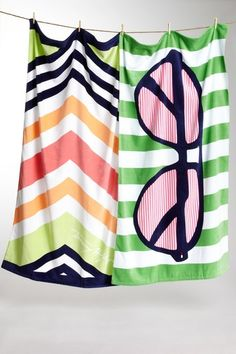 Tommy Hilfiger Chevron and Sunglasses Beach Towels $29.00