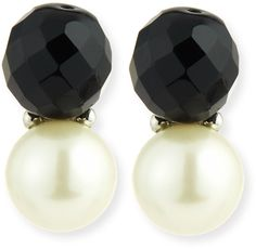 Kenneth Jay Lane Faceted Crystal & Simulated Pearl Earrings, Black/White 3