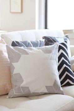 Chevron and applique pillows