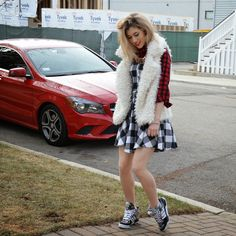 Team Flannel - mermaid waves mixing patterns plaid winter look fur gym shoes sporty outfit girls outfit street style
