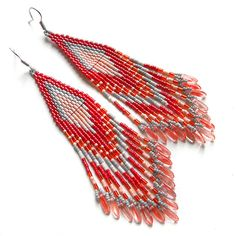 Beautiful bohemian dangle earrings in red tones. Earrings made of Japanese seed beads. Measurements: Length - 12 cm (4 3/4) (including ear wires).