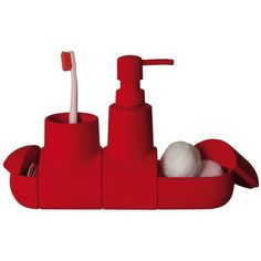 Seletti Home Submarino Bathroom Accessory Set found on Polyvore featuring home, bed & bath, bath, bath accessories, red, red soap dispenser, red bathroom accessories, red bath accessories and seletti