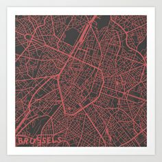 Brussels Map Art Print by Map Map Maps - $18.00---------------------------If you like my work, you can folllow my Facebook account : https://www.facebook.com/MapMapMaps