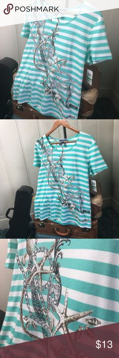 Karen Scott blouse This top will have you thinking of a tropical 🏝 vacation! Brand new and ready to travel, features teal and white stripes shiny metallic accents on beach theme art. Karen Scott Tops Blouses