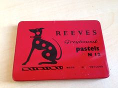 Vintage Reeves Greyhound Pastels N 12 Red Tin Box Complete with Pastels. by trevoranna on Etsy