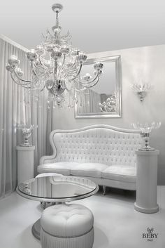 White & Silver. Passion Living Collection & Garden Party Lighting Collection. By Beby Italy. #luxurychandelier #luxury #chandelier