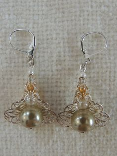 Pearl Silver Flower Earrings by StitchMetal on Etsy, $10.00