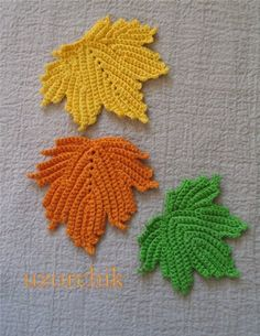 crochet maple leaf motifs