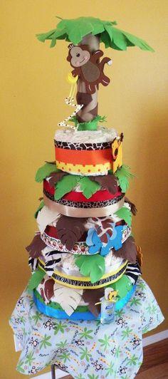 Custom made Jungle theme 5 Tier Diaper cake