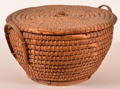 Large Rye Straw Covered Coil Basket