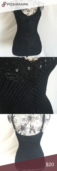 The Limited handknit top Beautiful knit top. It is a size medium, handknit black knit top with adjustable straps. Embellished with sequins. Super sexy and super daring.  I wore it with a black bralette (listed in my closet. Sequined) The Limited Tops Blouses
