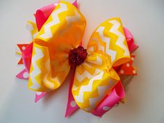 Yellow Chevron and Hot Pink Polka Dot Bow Summer Bows Pink and Yellow Ribbon Summer Dresses Tank Tops and Shorts Bows to Match by ransomletterhandmade, $10.50