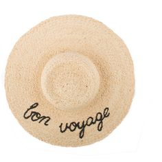 Bon Voyage Straw Sun Hat (6.335 RUB) ❤ liked on Polyvore featuring accessories, hats, summer straw hats, brim straw hat, summer beach hat, brimmed hat and embroidered hats