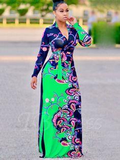 Tbdress.com offers high quality V Neck Long Sleeve Printing Women's Maxi Dress Maxi Dresses unit price of $ 24.99. African Maxi Dresses, African Attire, Look Fashion, Fashion Beauty, Womens Fashion, Dress Fashion, Fashion Clothes, Maxi Dress With Slit, New Dress
