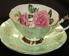Queen Anne FULL CABBAGE ROSES LIME GILT Tea cup and saucer $95