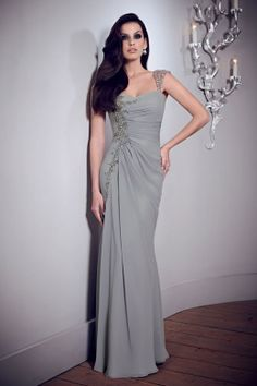 mother of the bride dress not this dress but maybe this color. soft smokey grey. very classy.