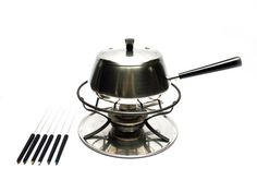Vintage modern stainless steel metal fondue set, Pot or saucepan with lid, holder, stove, plate and forks, Made in Switzerland